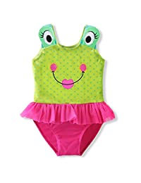 DAXIANG Lovely Children Cartoon Frog Big Eyes Patch Polka Dots One-piece Swimsuit