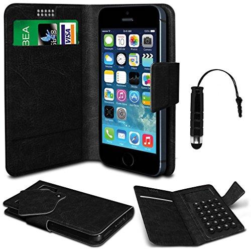 N4U Online® - Apple Iphone 3G 3GS Noir PU aspiration en cuir Pad Wallet Case Cover & Mini Stylet