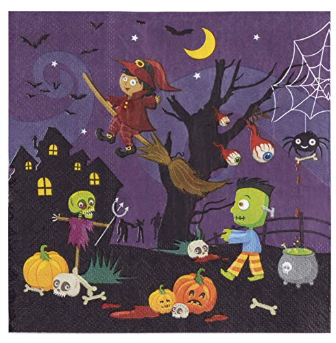 Cocktail Napkins - 100-Pack Luncheon Napkins, Disposable Paper Napkins Halloween Party Supplies, 2-Ply, Witch and Monsters Design, Unfolded 13 x 13 Inches, Folded 6.5 x 6.5 Inches