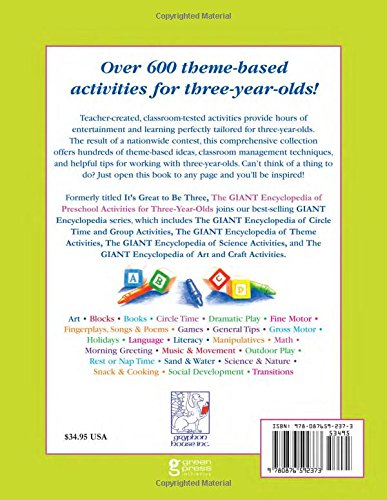 The giant encyclopedia of preschool activities for three year olds the giant encyclopedia of preschool activities for three year olds over 600 activities created by teachers for teachers the giant series kathy charner m4hsunfo