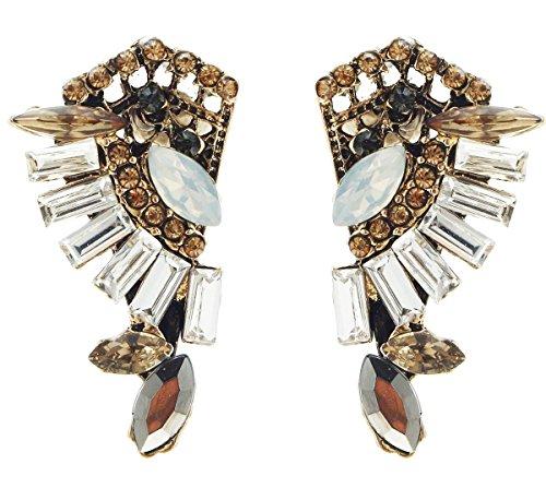 (Art Deco Antique Vintage Style Flapper Citrine Opal Marcasite Clear Rhinestone Wedding Bridal Prom Cluster Earrings)