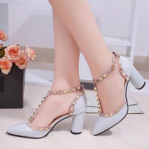 Roma remache GAOLIXIA alto sandalias de Zapatos Blanco tacón boda Gray de Negro Gris de noche gruesas Zapatos Primavera PU de mujer Fiesta Verano para de y Gruesas Rosa fPqOEZnwx