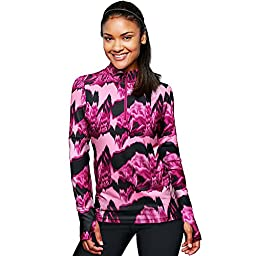 Duofold by Champion THERMatrix153; Womenâ€s 1/4 Zip Printed Pullover_Marzipan Pink & Berry Delight Washy Glitch_XL