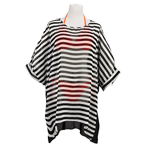 [Womens Bohemia Summer Beach Wear Cover up Swimwear Black And White Pinstriped] (Pinstriped Skirt Suit)