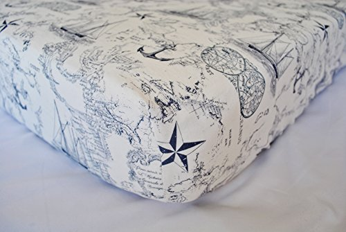 Fitted Crib Sheet - Nursery Bedding - Handmade in The PNW (Vintage Nautical Map Blue Crib Sheet - Baby Boy Crib Sheet)