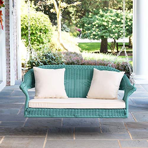 BrylaneHome Roma Resin Wicker Porch Swing - - Swing Fabric Wicker