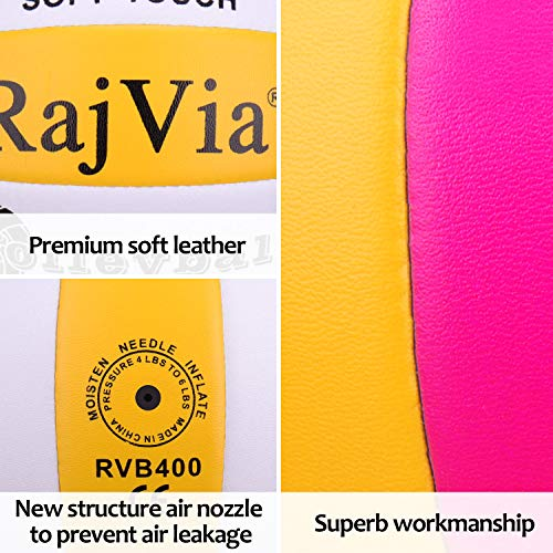 Rajvia Soft Touch Beach Volleyball,Official Size 5 Indoor Outdoor Volleyball,Pool Gym Training Game Beach Play Ball,Comes with Mesh Bag and Pump Needle.