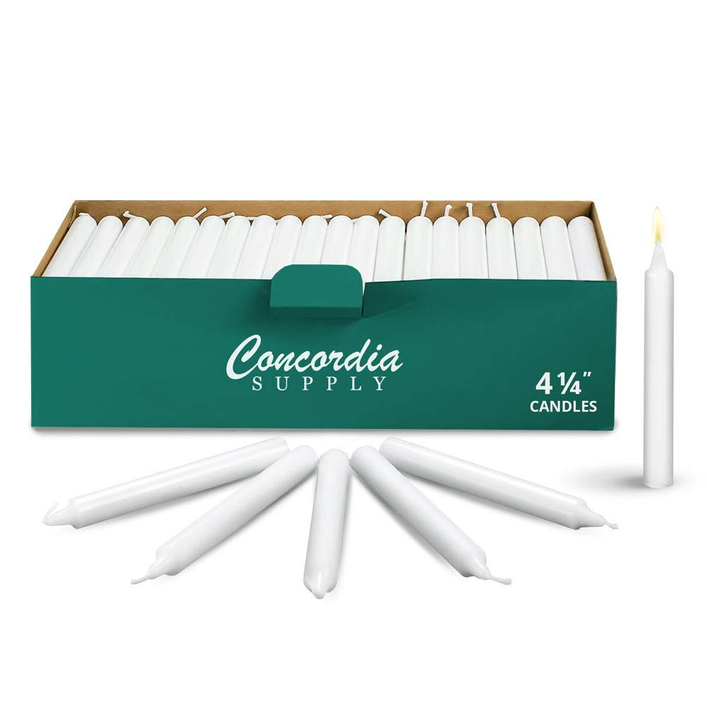 Concordia Supply Candlelight Service Vigil Candles 4.25'' x 1/2'', Box of 250