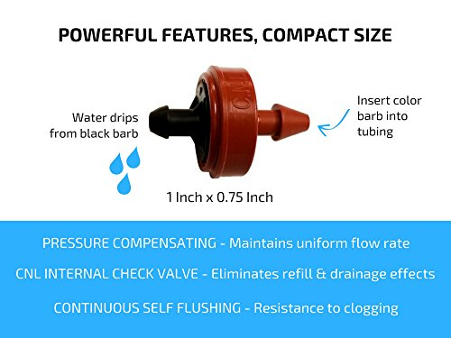 0.5 (1/2) GPH Netafim Woodpecker Jr Pressure Compensating Dripper Emitters, 35-Pack PLUS Hole Punch Tool and Goof Plugs for Drip Irrigation Systems by Habitech (Image #4)