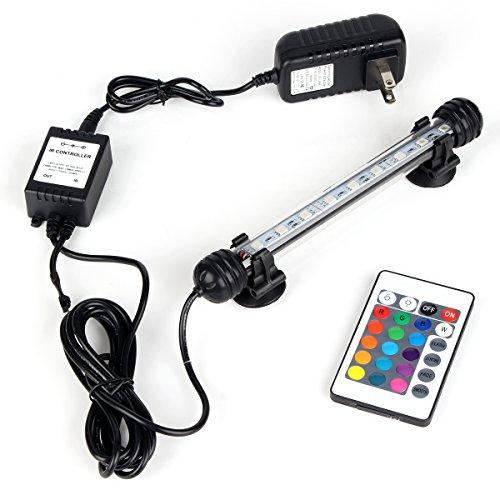 (DOCEAN Aquarium Light with IR Remote Control, RGB Submersible Fish Tank Light, 9 LED, 7inch/18cm, 2W/100-240V, Premium Acrylic Underwater Aquarium Lamp for Fish Tank)