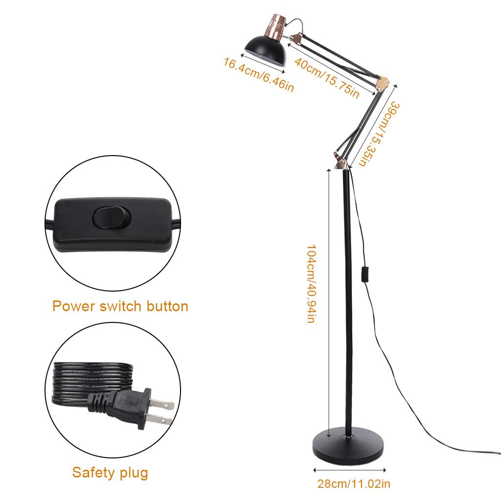 Swing Arm Desk Lamp, Adjustable Height Rocker Armrest Table Lamp Bedside Table Metal Floor Lamp Architect Standing Lamp Adjustable Head Reading Light Perfect for Reading Study Work Office (Black) by NLDK (Image #2)