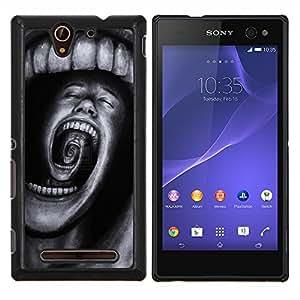 KLONGSHOP // Cubierta de piel con cierre a presión Shell trasero duro de goma Protección Caso - Dientes Horror Terror Negro Spooky - Sony Xperia C3 //