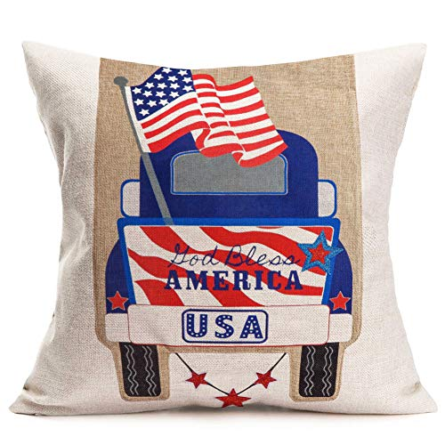 Aremetop Independence Day Throw Pillow Covers Vintage Red Blue Truck with American Stars Stripes Flag Cotton Linen Throw Pillow Case Decorative Cushion Cover 18''x18'',God Bless America - Bench Bless America God