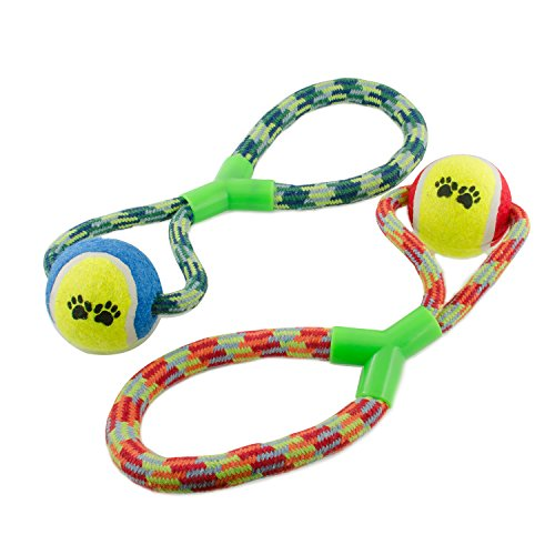 Evelyne GMT-10172 2-Piece set Pet Toy Tennis Ball with Figure Eight Loop Tug Handle Rope Chew- Colors (Figure 8 Rope Toy)