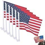 6 United States American Flag Patriotic Car Window Clip On Usa Flag 20'' X 12''