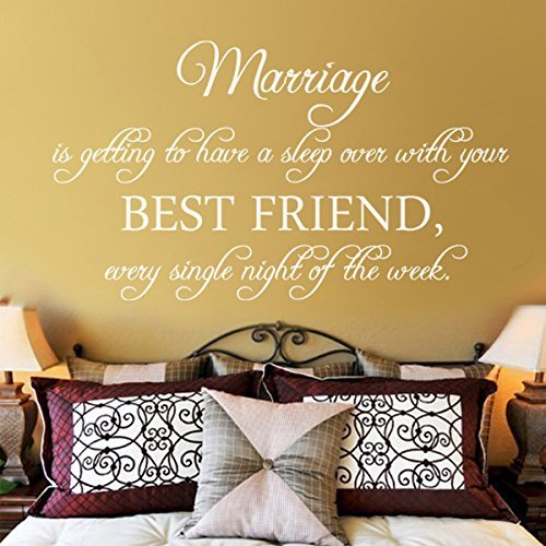 Marriage Is Getting To Have A Sleep Over With Your Best Friend Vinyl Romantic Wall Decal Love Saying Wall Quote Wall Sticker Bedroom Wall Art Decor Black