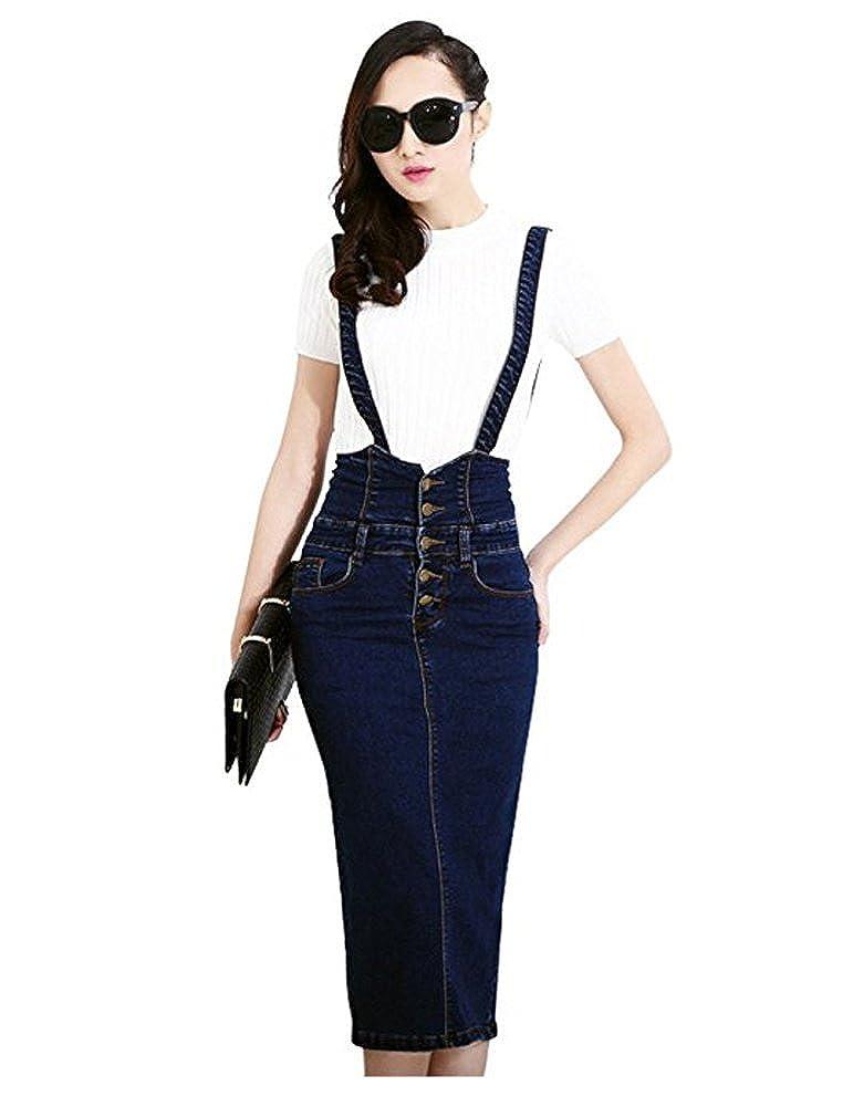 a6d88f0b1c7 TOPJIN Women s High Waist Bodycon Pencil Denim Skirts Suspender Jeans Dress  at Amazon Women s Clothing store