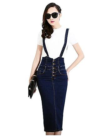 e439bd7a48219 TOPJIN Women's High Waist Bodycon Pencil Denim Skirts Suspender Jeans Dress