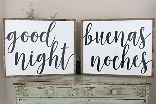 Good Night, Buenas Noches Farmhouse Sign