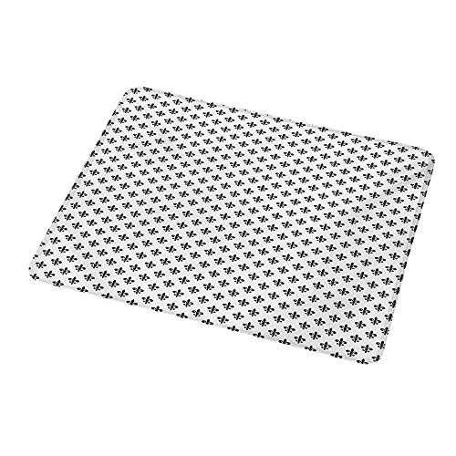 """Desktop Mousepad Fleur De Lis,Royal Lily Pattern Antique Style Medieval Symbol Vintage Monochrome Ornament,Black White,Non-Slip Rubber Mousepad 9.8""""x11.8""""inch"""