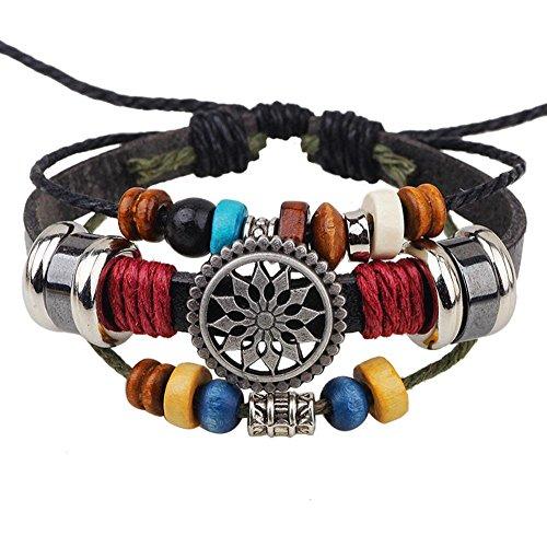 Molyveva Handmade Multilayer Leather Bracelet Vintage Hollow Carved Wheel of Fortune Beaded Bracelet