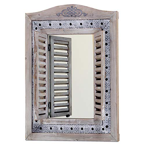 WHW Whole House Worlds Americana Rustic Farmhouse Mirror with Shutters, Vintage Gray, -