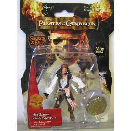 (Disney Zizzle Pirates of The Caribbean Dead Man's Chest 3 3/4 Inch Action Figure Series 3 Half Skeleton Jack Sparrow)