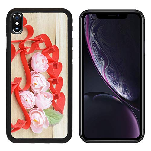 (Luxlady Apple iPhone XR Case Aluminum Backplate Bumper Snap Cases Image ID: 30342169 Ribbons red Hearts Shaped and Flower Deco on Wood Background)