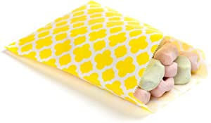 7 x 5 Inch Cookie Bags, 100 Biodegradable Paper Treat Bags - Use As Party Favors Or Candy Bags, Food Safe, Yellow With Asian Monogram Paper Food Bags For Baked Goods, For Buffets Or Parties