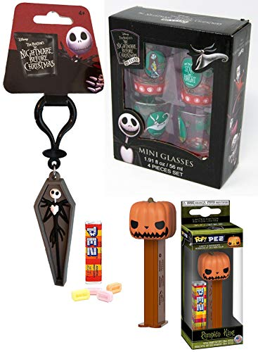 The Jack King Pumpkin Head Figure Nightmare Before Christmas PEZ Pop! Bundled with NBC Soft Coffin Hanger & Mini Glasses 4 Sally / Zero / Scary & Bright 3 Items