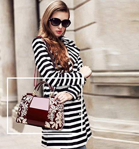 Mediana Patente Madre Vino Bolso Grande Edad Moda De Para Mujer Rojo Messenger La Hombro qXt7Srnzwt