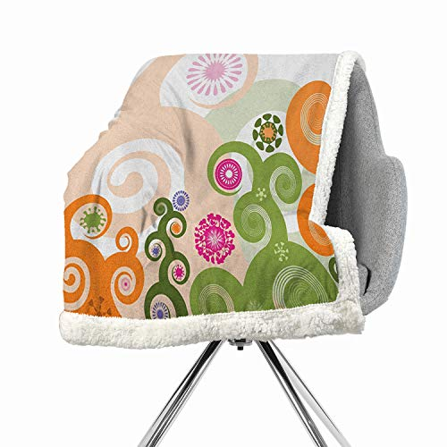 BenmoHouse Abstract Berber Fleece Blanket Small Quilt 60 by 78 Inch Heavy Sherpa Multicolor Retro Inspired Floral Arrangement with Abstract Swirls and Flower Designs Vibrant