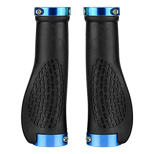 (SAPLIZE Bike Handlebar Grips, Mountain Bike Grips, Ergonomic Design, Aluminum Double Lock-on (Black, Blue Rings))