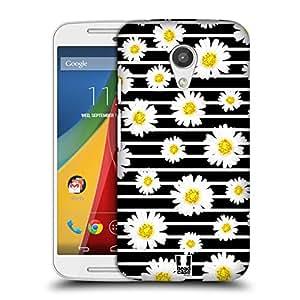 Head Case Designs Daisy Pattern Floral Fashion Stripes Hard Back Case for Motorola Moto G (2nd gen)