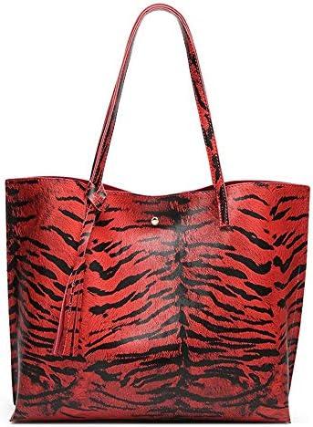 ハンドバッグ、ヨーロッパとアメリカのフリンジシンプルな人格の大容量ヒョウトートバッグ、野生のショルダーバッグクロスボディバッグ、35 * 11 * 30センチメートル よくできた (Color : Red)