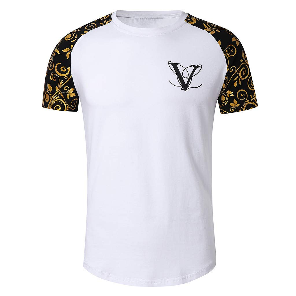 Shirt for Men F/_Gotal Mens T-Shirts Fashion Summer Short Sleeve Colorblock Muscle Casual Sport Tees Blouse Tops