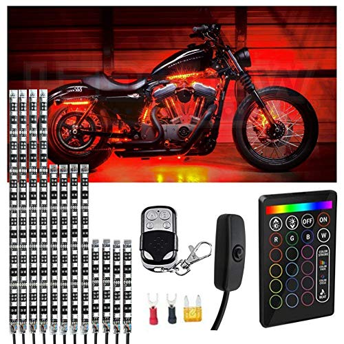 (Motorcycle LED Light Kit Strips Multi-Color Accent Glow Neon Ground Effect Atmosphere Lights Lamp with Wireless Remote Controller for Harley Davidson Honda Kawasaki Suzuk(12PCS))