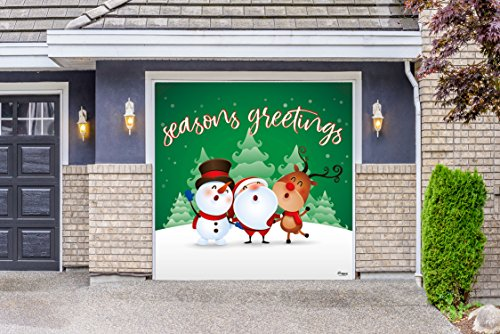 Outdoor Christmas Holiday Garage Door Banner Cover Mural Décoration - Christmas Characters Seasons Greetings Winter - Outdoor Christmas Holiday Garage Door Banner Décor Sign 8'x8' by Victory Corps