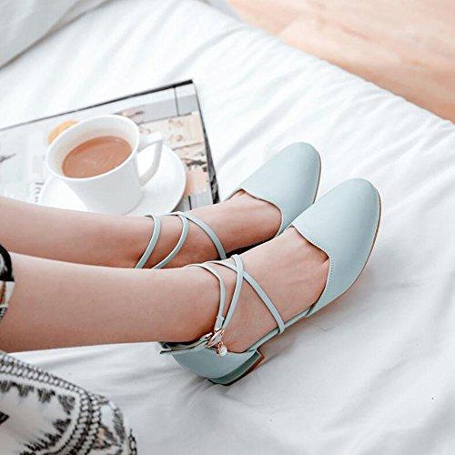 De Los De Señoras Talones Mujeres Las Honda Cómodos Altos Bloque Traseras De Bombas Las Manera Las Zapatos Blue La vRwF8qq