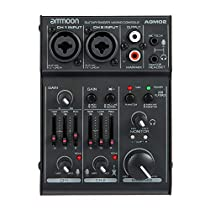 ammoon Mixing Console 4-Channel Mini Mixing Console Digital Audio Mixer 2-band EQ Built-in 48V Phantom Power 5V USB Powered for Home Studio Recording DJ Network Live Broadcast Karaoke AGM04