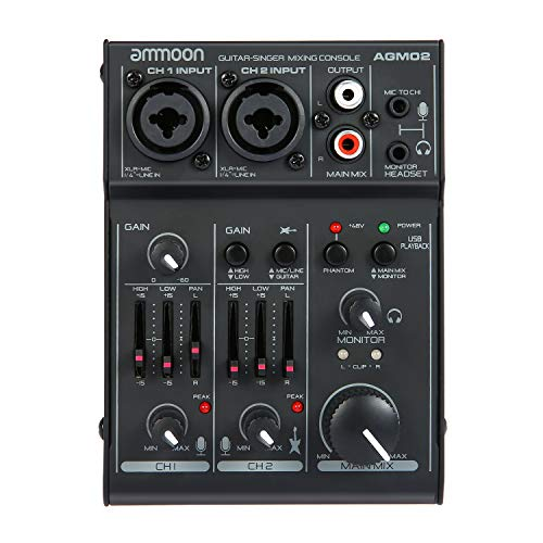 Live Sound Mixer Digital - ammoon 2-Channel Sound Card Mini Mixing Console Digital Audio Mixer 2-band EQ Built-in 48V Phantom Power 5V USB Powered for Home Studio Recording DJ Network Live Broadcast Karaoke