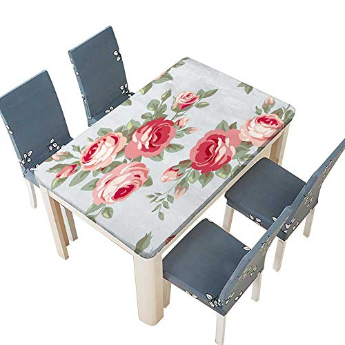 (PINAFORE Printed Fabric Tablecloth Raster Version Seamless Vintage Pattern with Roses Floral Wallpaper with Blooming Pink Flowers Washable Polyester W53 x L92.5 INCH (Elastic Edge))