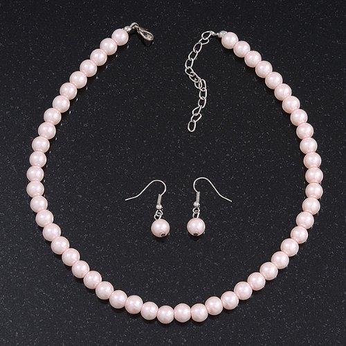 Ensemble boucles d'oreille et collier perle de verre rose pâle en métal argenté - longueur 38cm/extension 4cm