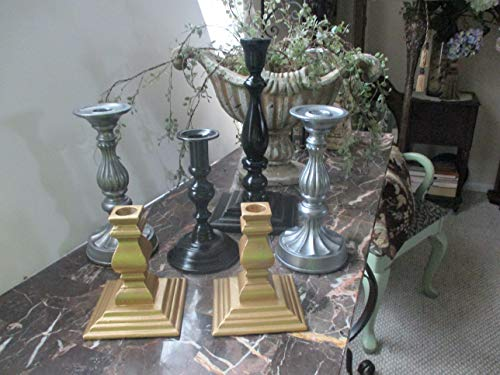 Six Candlesticks, Tabletop Candle Holders, Grey, Black, Gold, Upcycled Vintage, Brass/Alloy/Metal, Wood, Modern Room Decor, Contemporary Colors, Candlelight, Candles