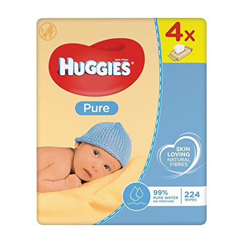🥇 Huggies Pure Toallitas para Bebé – Paquetes de 4 x 56 toallitas – Total: 224 toallitas