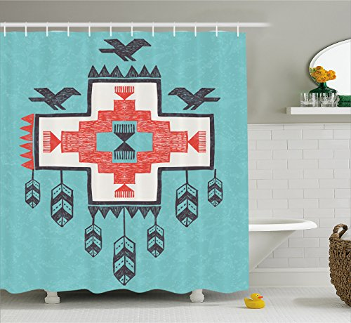 Native American Decor Shower Curtain by Ambesonne, Ethnic Tribal Aztec Hand Drawn Dreamcathcher Folkloric Icons Birds Image, Fabric Bathroom Decor Set with Hooks, 70 Inches, Multi