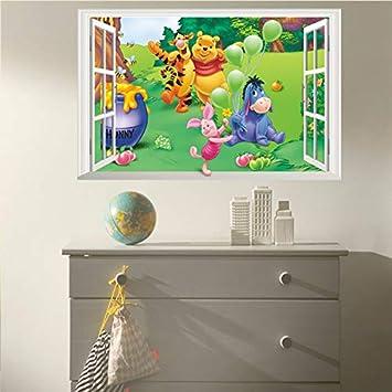 MaxLight Cartoon 3D Window Winnie Pooh Bear Tiger Pig Wall Stickers for Kids Room Baby Nursery Home Decor Decal Mural Poster Art S