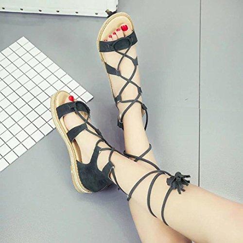 Fheaven Womens Sandali Estate Stringate Incrociate Tacco Piatto Scarpe Roma Verde Scarpe