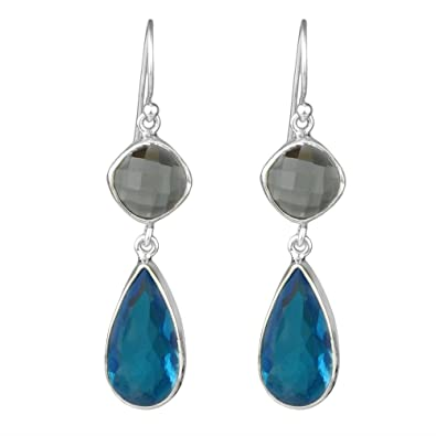 c2f644b4d8 Clear Quartz, Blue Glass 925 Sterling Silver Gemstone Earrings Jewelry  8.84g fashion stylish &