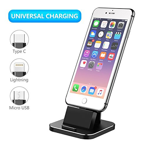 Cell Phone Charger Dock, XUNMEJ Universal Desktop Charging Stand Station for All Android Smartphone Samsung, iPhone X 8 7 6 plus With Cable for Micro USB Type-C Apple IOS -Black by XUNMEJ